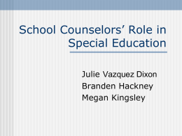 School Counselors' Role in Special Education