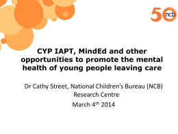 CYP IAPT, MindEd and other opportunities to promote the