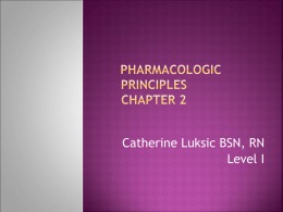 Introduction to Pharmacology NAPNES Guidelines