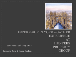 INTERNSHIP IN YORK – GATHER EXPERIENCE …