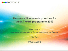 Vision of Photonics in Research and Innovation (FP8+CIP‡)