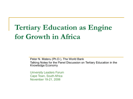 Re-Visioning Africa's Tertiary Education in the Transition
