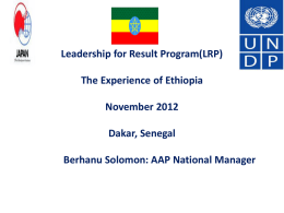 The Ethiopian Experience on Leadership for Result Program