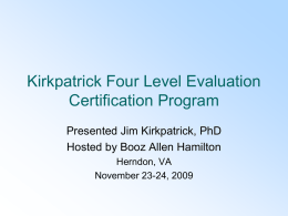 Kirkpatrick Four Level Evaluation Program