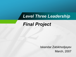 Level Three Leadership Final Project