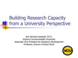 Building Research Infrastructure: the University Perspective
