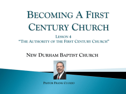 Lesson-4 The Authority of the First Century Church