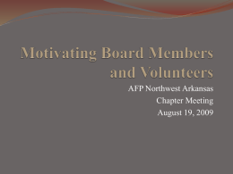Motivating Board Members and Volunteers