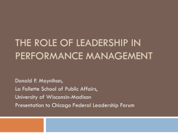 The Role of Leadership in Performance Management""