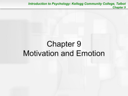 Chapter 9: Motivation and Emotion