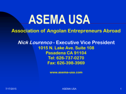 Angola Business Opportunities - Monterey Bay International