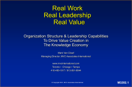 Real Work, Real Leadership , Real Value