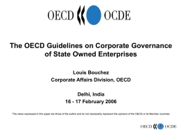 Corporate Governance of State-Owned Assets in OECD countries