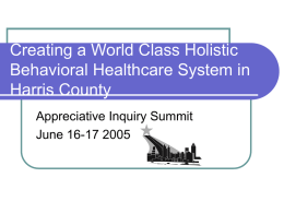 Creating a World Class Behavioral Healthcare System in