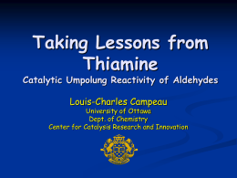 Taking Lessons From Thiamine Catalytic Umpolung Reactivity