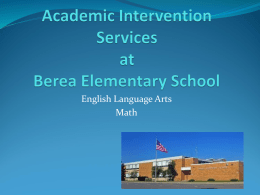Academic Intervention Services at Berea Elementary School