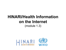 Health Information on the Internet (module 1.3)