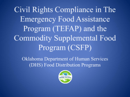 Civil Rights Compliance in The Emergency Food Assistance
