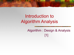 Introduction to Algorithm Analysis - Home