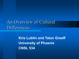 An Overview of Cultural Differences