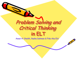 Problem solving and Critical thinking in ELT