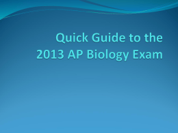 Quick Guide to the AP Biology Exam