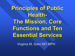 Principles of Public Health- The Mission, Core Functions