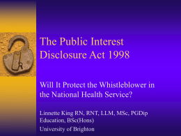The Public Interest Disclosure Act 1998
