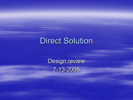 Direct Solution - University of Idaho