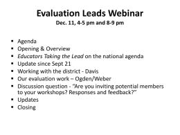 Evaluation Leads Webinar Dec. 11, 4-5 pm and 8