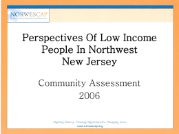 Perspectives Of Low Income People In Northwest New Jersey