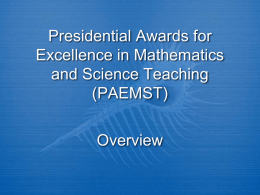 Presidential Awards for Excellence in Mathematics and