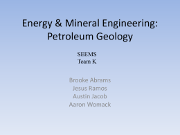 Energy & Mineral Engineering: Petroleum Geology