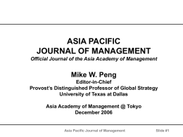 Asia Pacific Journal of Management 1983