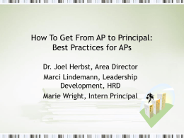 How To Get From AP to Principal: Best Practices for APs