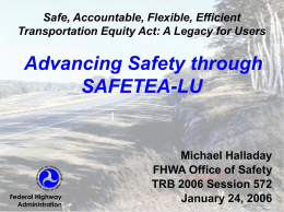 SAFETEA-LU: Key Safety Provisions