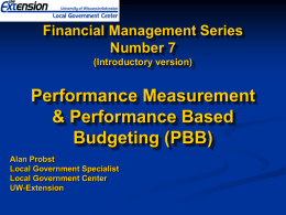 Performance Measurement & Performance Based Budgeting
