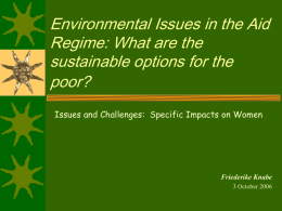Environmental Issues and the Aid regime