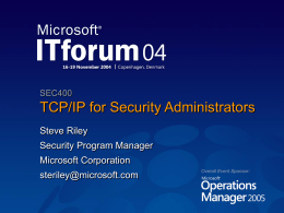 TCP/IP for Security Administrators