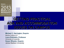 March 2013 CLE Workshop: Getting Practical: ADA and