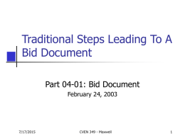 Traditional Steps Leading to a Bid Document