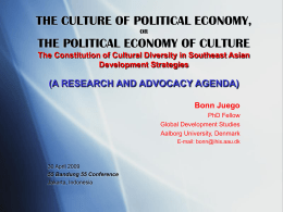 THE CULTURE OF POLITICAL ECONOMY, OR THE POLITICAL …