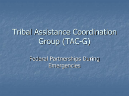 Patrick Vacha, Tribal Assistance Coordination Group