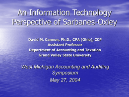 An Information Technology Perspective of Sarbanes