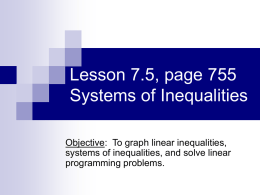 8-5 – Graphing Systems of Inequalities
