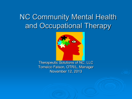 NC Mental Health: Perspectives from an Intensive In