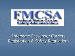 Interstate Passenger Carriers Registration & Safety