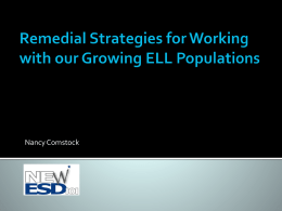 Strategies for Working with our Growing ELL Populations