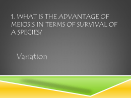 1. What is the advantage of meiosis in terms of survival