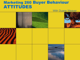 Marketing 260 Buyer Behaviour ATTITUDES
